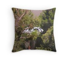 Helicopter beneath the trees Throw Pillow