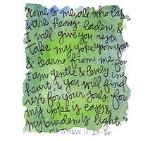 Matthew 11:28-30 Watercolor Print by Bumble & Bristle