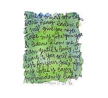 Matthew 11:28-30 Watercolor Print Photographic Print