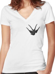 Black Swallow Women's Fitted V-Neck T-Shirt