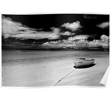 Island Beach in monochrome Poster