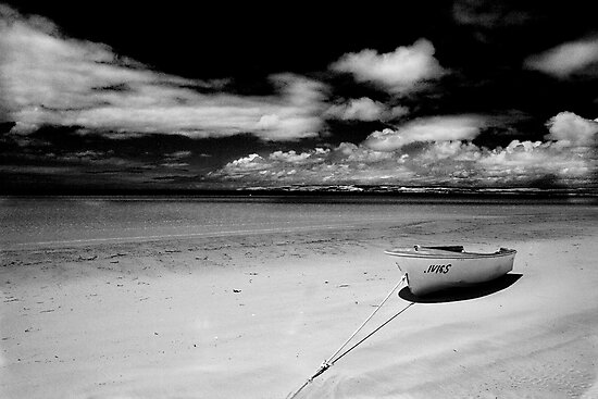 Island Beach in monochrome by Elana Bailey