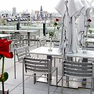 Pompidou terrace with red roses by Vivi Kalomiri