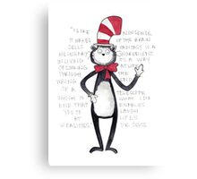 Cat in the Hat Watercolor Canvas Print