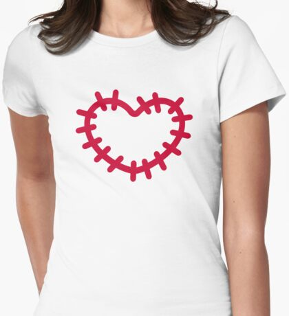 Red heart patch Womens Fitted T-Shirt