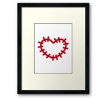 Red heart patch Framed Print