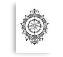Wanderlust Compass Design - Black Canvas Print