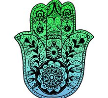 Green Blue Ombre Hamsa by foreversarahx