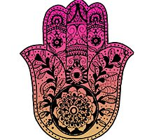 Pink Orange Ombre Hamsa by foreversarahx