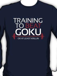 Training to beat Goku - Krillin - White Letters T-Shirt