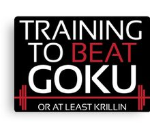 Training to beat Goku - Krillin - White Letters Canvas Print