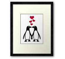 Penguin red hearts love Framed Print