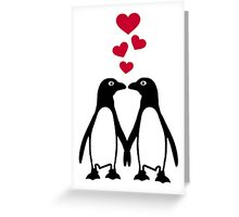 Penguin red hearts love Greeting Card