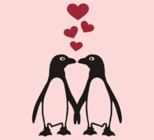 Penguin red hearts love Baby Tee