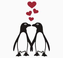 Penguin red hearts love by Designzz