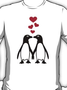 Penguin red hearts love T-Shirt