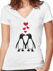 Penguin red hearts love Women's Fitted V-Neck T-Shirt