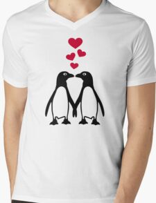 Penguin red hearts love Mens V-Neck T-Shirt