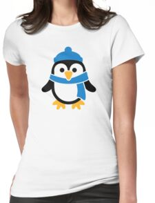 Penguin winter scarf Womens Fitted T-Shirt