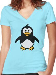 Comic penguin Women's Fitted V-Neck T-Shirt