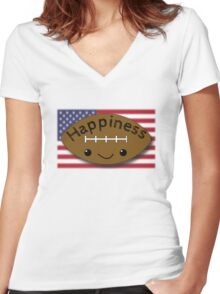Happiness - Football Women's Fitted V-Neck T-Shirt