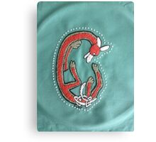 Embroidery Fox Letter C Canvas Print