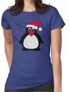 Santa penguin Womens Fitted T-Shirt