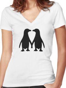 Penguin couple love Women's Fitted V-Neck T-Shirt