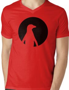 Penguin moon Mens V-Neck T-Shirt
