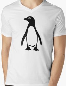 Black penguin Mens V-Neck T-Shirt