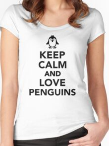 Keep calm and love penguins Women's Fitted Scoop T-Shirt