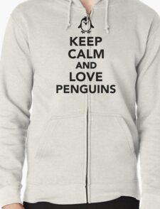 Keep calm and love penguins Zipped Hoodie