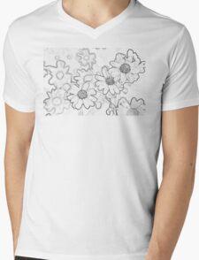 Gray Daisies Mens V-Neck T-Shirt