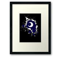 Lunar Splat (white paint, black background) Framed Print