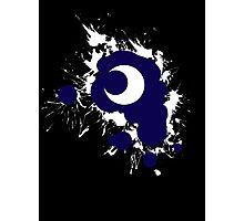 Lunar Splat (white paint, black background) Photographic Print