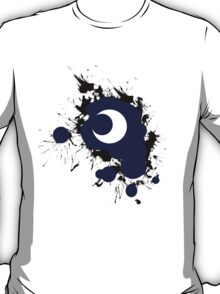 Lunar Splat (black paint, white background) T-Shirt