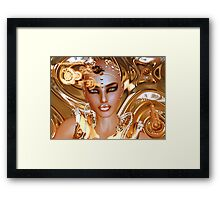 A futuristic, sci fi robot girl against a unique gold background. Framed Print