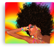 Disco Queen with Retro Afro Hairstyle! Canvas Print