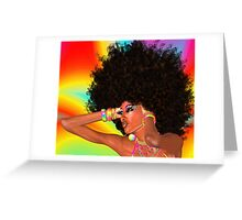 Disco Queen with Retro Afro Hairstyle! Greeting Card