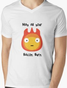 Howls moving castle - Calcifer - May all your bacon burn. Mens V-Neck T-Shirt