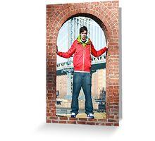Boy with Manhatten Bridge in Background Greeting Card