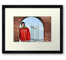 Boy with Manhatter Bridge in the background Framed Print
