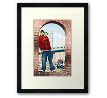 Guy with Manhatten Bridge in New York Framed Print