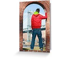 Boy looking at Manhatten bridge NYC Greeting Card