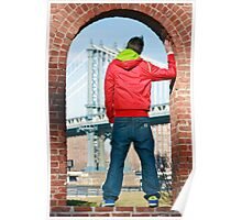 Boy looking at Manhatten bridge NYC Poster