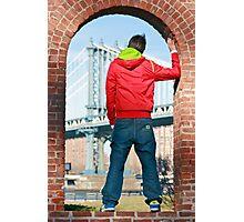 Boy looking at Manhatten bridge NYC Photographic Print