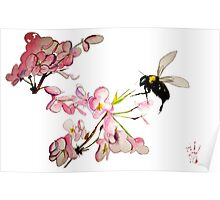 Cherry Blossom & Bee Burgundy Poster