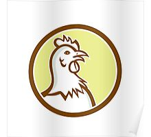 Chicken Hen Head Side Circle Cartoon Poster