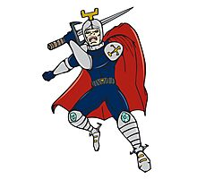 Knight Brandishing Sword Cartoon Photographic Print