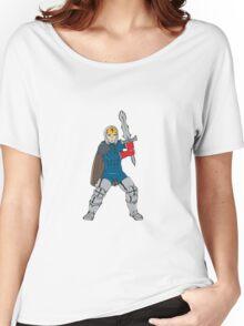 Knight Wielding Sword Front Cartoon Women's Relaxed Fit T-Shirt